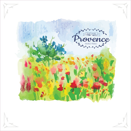Vector illustration of nature in a Provencal style. Watercolor illustration of a field of poppies. Simple painting sketch in vector format.