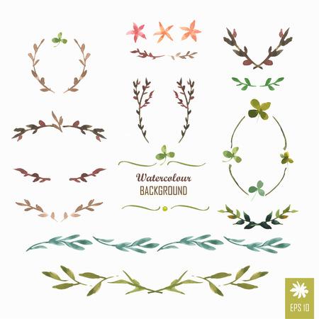 꽃 모티브. 화환과 월계수의 수채화 빈티지 꽃 트렌디 한 세트. 프레임 세트