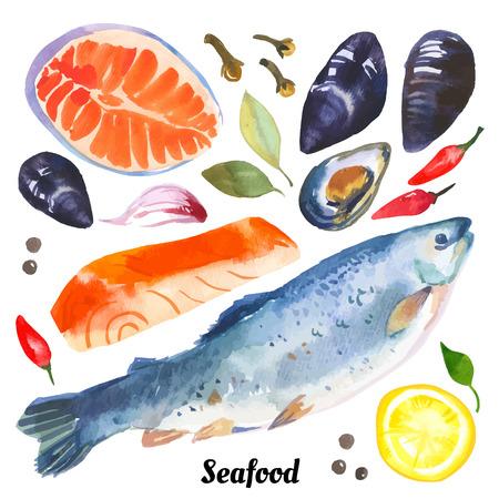 흰색 배경에 손으로 그려 고등어, 오징어, 새우, 홍합 바다 음식의 수채화입니다.