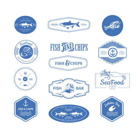 fish tail: Logo set for fish restaurant or bar with a picture of the fish. Blue sings on white background. Illustration