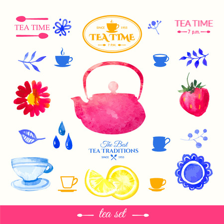 doodling: Watercolor set on tea theme. Tradition of tea time. Multicolor cute watercolor design. Handmade doodling. Illustration