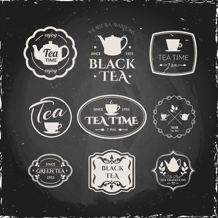 traditions: Simple symbols with cup & teapot. Traditions of tea time. Decorative elements for your design.