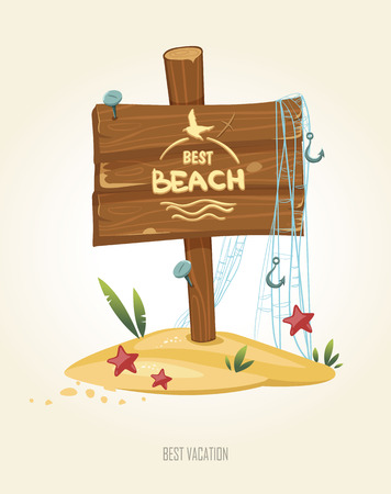 Beach sign with fishing net, fish hooks and starfish. Summer poster. Cartoon style.