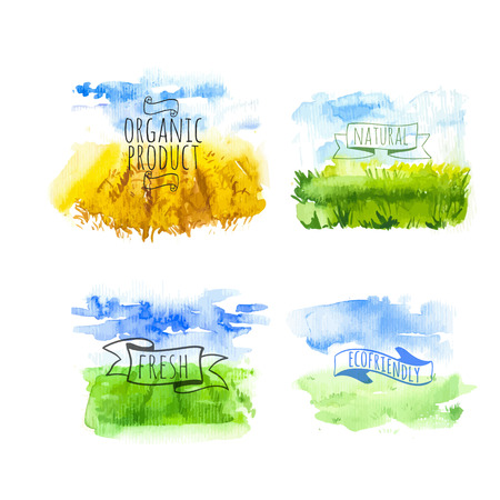 Set of simple watercolor landscape with fields and farms. Vector illustration of nature in a Provencal style. Organic farms. Vettoriali
