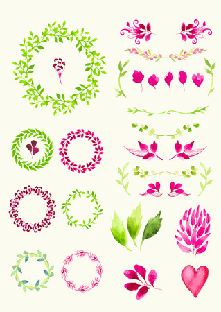 decoration design: Set of round frame made of various leaves in watercolor. Hand-painted watercolor design elements. Floral motifs. Green & pink set