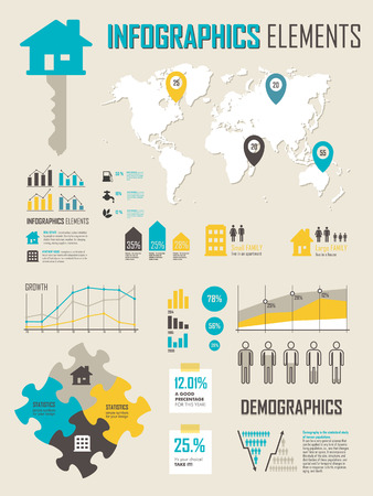 Print design: Vector Illustration with map Info graphics elements in yellow blue colors. Info graphics set with map. Statistics, charts and graphs. Infographic simple flat elements and symbols for your design.