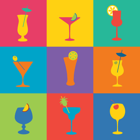 Cocktails icon set in flat design style. Simple icons of drinks Vettoriali