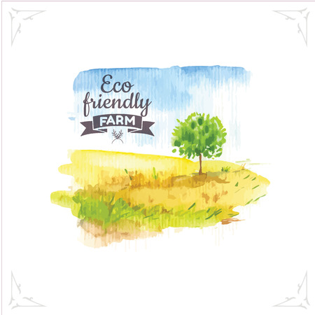 blue sky: Vector illustration of nature in the Provencal style. Watercolor illustration of a tree in a field. Illustration