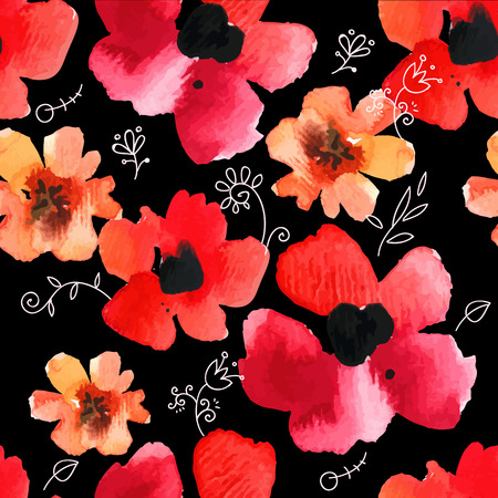 Floral ornament with wild flowers  on black background for your design and decor. Çizim