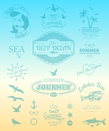 moments: Summer logos & icons. Summer Beach style. Typography. The best moments of the summer. Retro design.