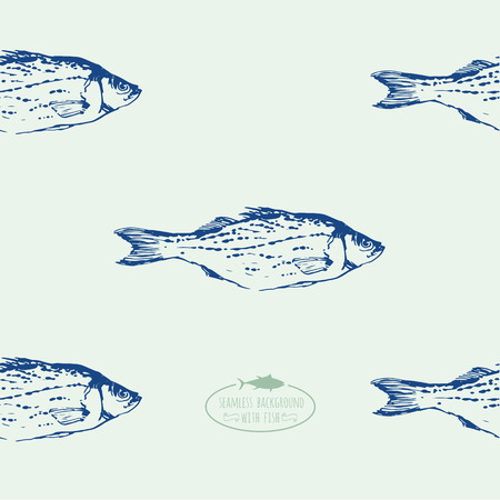 delicacy: Seamless background of drawn sketches of fish. Blue & green hand-drawn illustration.