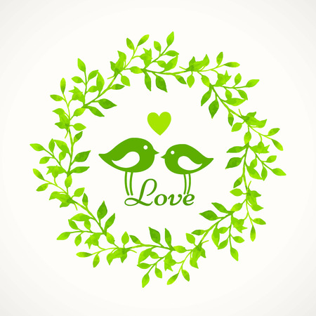 two birds: Watercolor floral frame with birds. Green wreath. Floral motifs. Love between the two birds. Illustration
