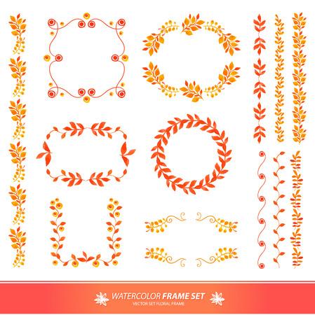 vintage floral: Set floral frame. Autumn colors. Floral motifs. Watercolor vintage floral wreaths and laurels.
