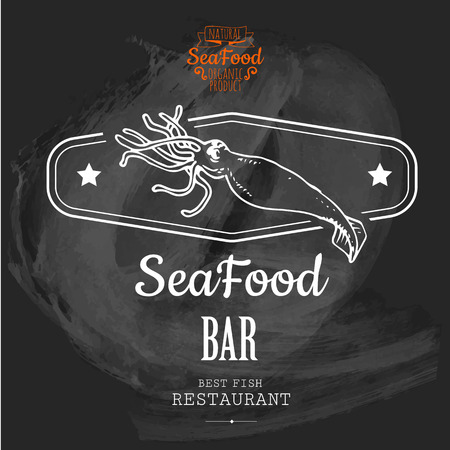 Logo for fish restaurant or bar with a picture of the squid. Simple drawn sketch in vector format on a blackboard