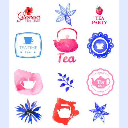 turkish: Watercolor set on tea theme. Tradition of tea time. Multicolor cute watercolor design. Handmade doodling in blue & pink colors.