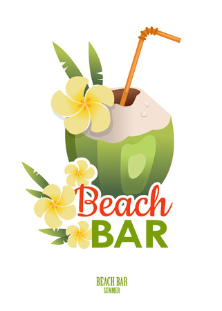 coconut water: Vintage Beach Bar poster with a cocktail in green coconut. Summer poster Illustration