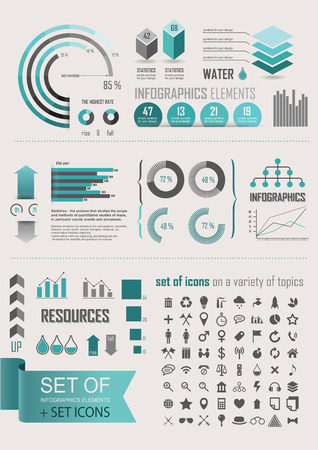 Statistics Charts And Graphs Info Graphic Simple Flat Elements