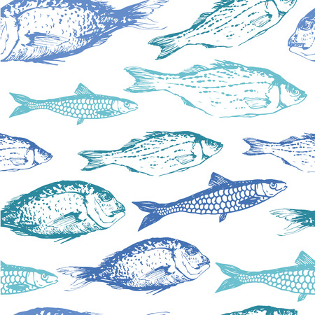 물고기의 그린 스케치의 원활한 배경입니다. 블루 & 그린 손으로 그린 그림입니다.