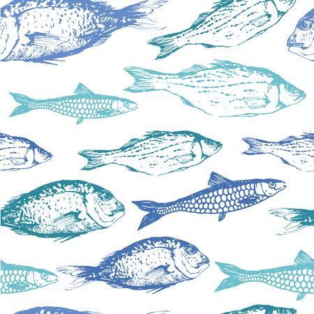 Naadloze achtergrond van de getekende schetsen van vis. Blauw en groen met de hand getekende illustratie. Stock Illustratie