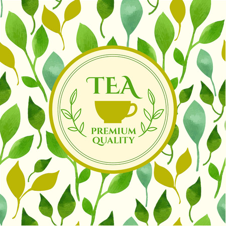 Seamless watercolor background of green leaves with emblem of tea. Ornament made from tea leaves. Packaging design