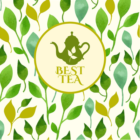 plant to drink: Seamless watercolor background of green leaves with emblem of tea. Ornament made from tea leaves. Packaging design