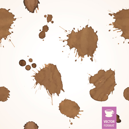 faience: Seamless background with coffee stain & drop of coffee. Isolated On White Background. Traces of drink.