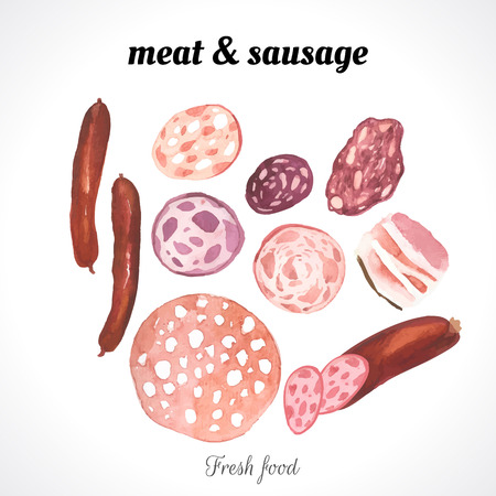 Watercolor illustration of a painting technique. Fresh organic food. Set of different types of sausages and meat