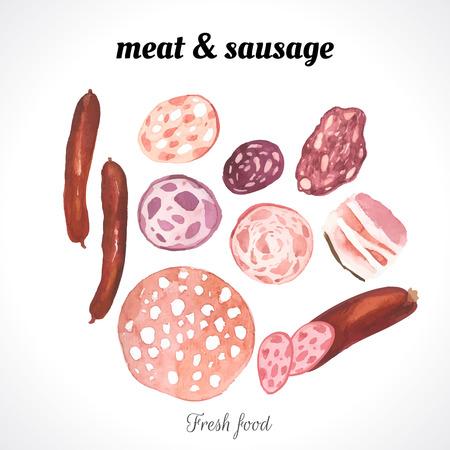 embutidos: Ilustración de la acuarela de una técnica de pintura. Los alimentos frescos orgánicos. Conjunto de diversos tipos de embutidos y carne