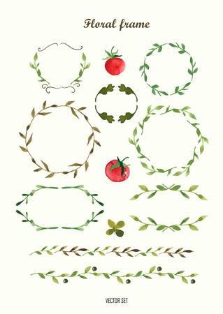 꽃 모티브. 화환과 월계수의 수채화 빈티지 꽃 트렌디 한 세트. 라운드 프레임의 집합입니다.