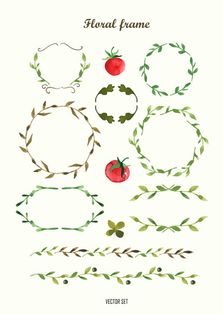 Floral motifs. Watercolor vintage floral trendy set of wreaths and laurels. Set of round frames. Vettoriali