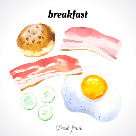 raw egg: Watercolor illustration of a painting technique. Fresh organic food. Set meal for breakfast: scrambled eggs, biscuits, bacon and cucumber.