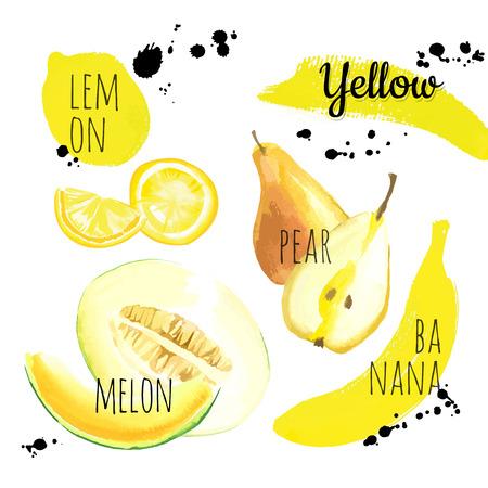 新鮮な有機食品。さまざまな果物、野菜、果実のセット: レモン、梨、バナナ ・ メロン。ベクトル形式の単純な絵のスケッチ。黄色のセット。