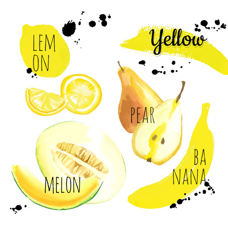 Fresh organic food. Set of different fruits, vegetables and berries: lemon, pear, banana & melon. Simple painting sketch in vector format. Yellow set.
