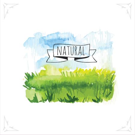 Organic farms. Watercolor illustration pshenicheono field with the sky. Vector illustration of nature. Vettoriali