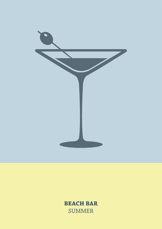 food and drink holiday: Cocktail retro poster with martini. Simple summer card