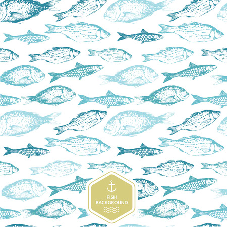 Seamless background of drawn sketches of fish. Blue & green hand-drawn illustration.