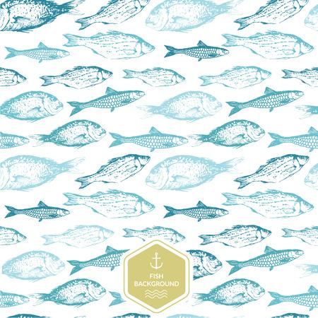 peces: De fondo sin fisuras de bocetos dibujados de peces. Ilustraci�n azul y verde dibujado a mano.