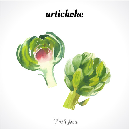 artichoke: Watercolor illustration of a painting technique. Fresh organic food. Provencal style. Artichoke
