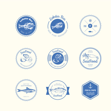 sings: Logo set for fish restaurant or bar with a picture of the fish. Blue sings on white background. Illustration