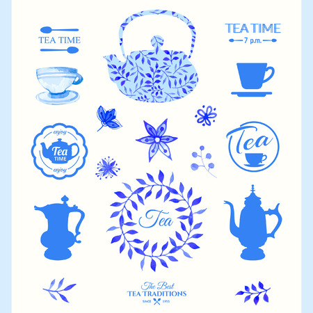 leaf pattern: Watercolor set on tea theme. Tradition of tea time. Blue watercolor design with leaves.