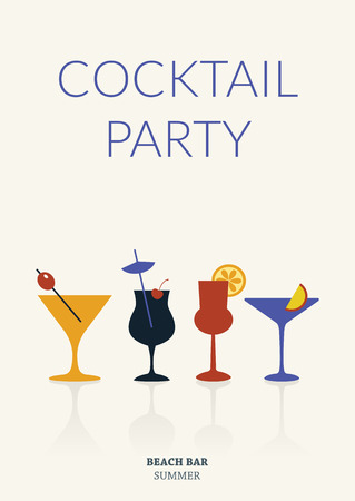 cocktail drinks: Cocktail party. Simple retro poster with different drinks. Summer cardeps