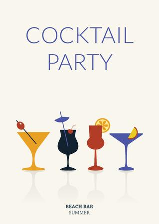 coquetel: Festa de cocktail. Poster retro simples com diferentes bebidas. Cardeps Ver