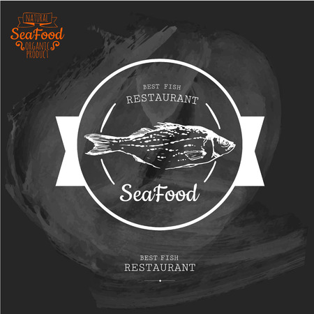 fresh food: Logo for fish restaurant or bar with a picture of the fish. Simple drawn sketch in vector format on a blackboard. Illustration
