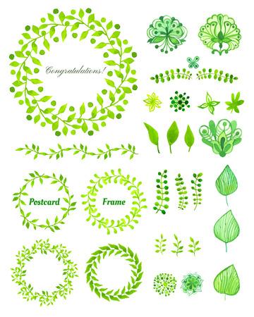 dibujo: Conjunto de marco redondo hecho de varias hojas en acuarela. acuarela elementos de diseño pintado a mano. Motivos florales. conjunto verde Vectores