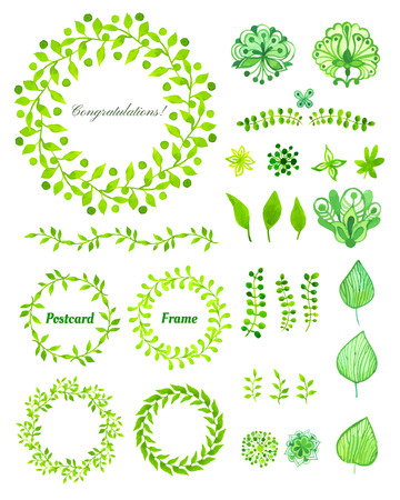green: Set of round frame made of various leaves in watercolor. Hand-painted watercolor design elements. Floral motifs. Green set