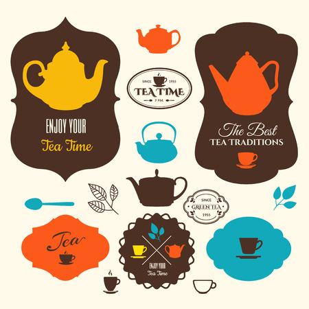 伝統: ラベル ・ テーマ茶上のアイコンのセットです。お茶の時間の伝統。茶ロゴ