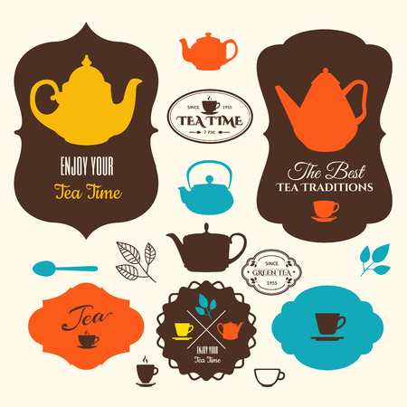 tea set: Set of labels & icons on theme tea. Tradition of tea time. Tea logo