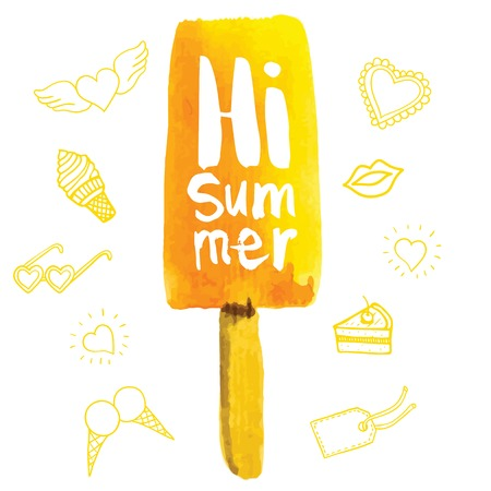 Poster with the phrase hi summer. Watercolor doodling with yellow ice cream. Lemon flavor. Illustration