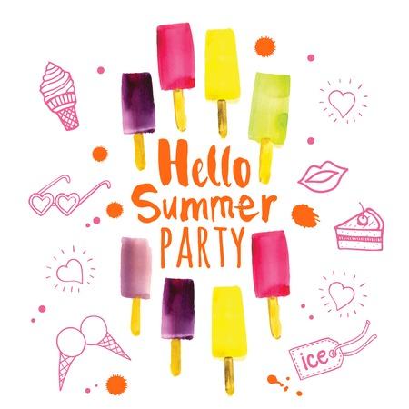 estate: Poster con la frase ciao festa estiva. Acquerello scarabocchi con gelato colorato e spruzzi di rosa e vernice arancione. Vettoriali
