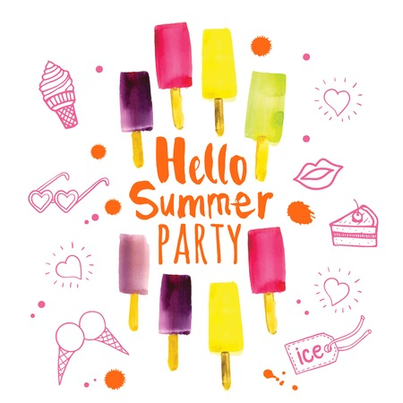 Poster with the phrase hello summer party. Watercolor doodling with colorful ice cream and splashes of pink and orange paint.